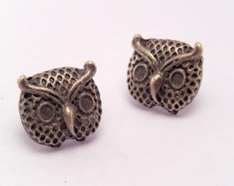 Mini Bronze Lil Hooters Owl Post Earrings