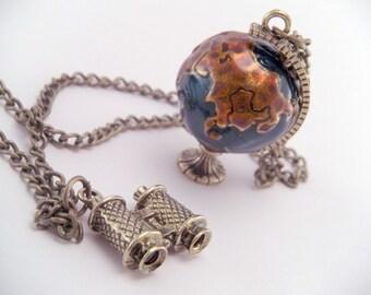 World Globe Atlas Binoculars Necklace with 30 Inch Alloy Chain