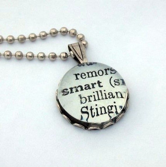 Glass Marble Dictionary Definition Necklace Pendant SMART with 16 Inch Ballchain