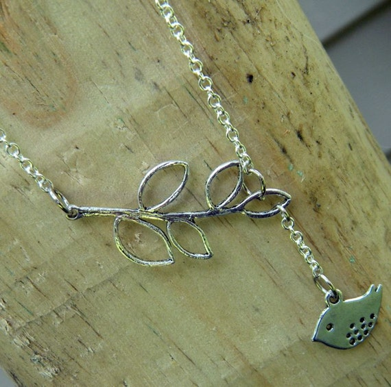 Mini Modern Bird and a Branch Lariat Necklace Pendant with Curb Chain