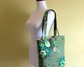 The Green Vintage Floral Barkcloth Tote Bag