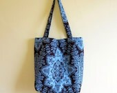 Large Tote Bag / Slate Blue & Chocolate Brown DAMASK Upholstery Fabric