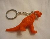 T-rex dinosaur keychain,  orange dino pet keyring, novelty pet dino keyring, soft plastic dinosaur, dino keychain, dinosaur toy keychain RTS