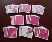 32 little assorted shop notecards 2x2 Pink lot