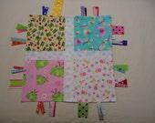 Ribbon play travel tag toy, sensory development toy, mini security blanket ABC, ribbon tag toy, tag lovey, ribbon tag lovey, baby shower toy