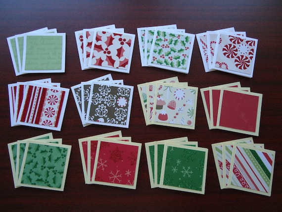36 little holiday ornament shop notecards 2x2