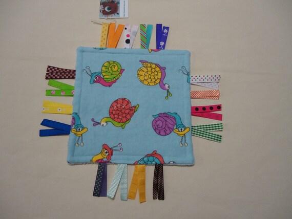 Sensory ribbon tag toy, Mini ribbon lovey, Travel tag toy, mini ribbon tag travel lovey, pocket ribbon lovey, ribbon tag pocket toy TB5 RTS