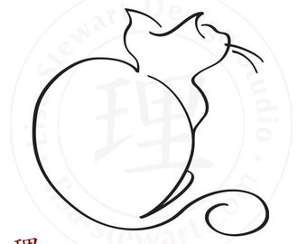CalligraphyCats - Watcher the Cat Calligraphic Illustration Print