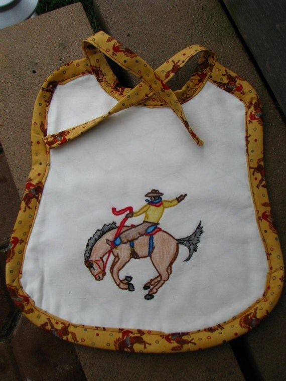 SALE - 1/2 Price - Cowboy Sam Baby Bib-