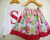 OUTFIT - Christmas Skirt and Applique Top - Pick the size Newborn up to 12 Years - by Boutique Mia