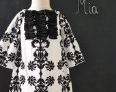Tuxedo Mini DRESS - Vicki Payne - Damask - Pick the size Newborn up to 14 Years - by Boutique Mia