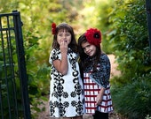 A-line Mini DRESS - Vicky Payne - Damask - Pick the size Newborn up to 12 Years - by Boutique Mia