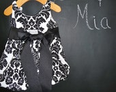 CHILDREN - Balloon Dress - Damask - Pick the size Newborn up to 12 Years - by Boutique Mia