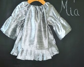 Raw Silk Peasant Mini DRESS - Pick the size Newborn up to 12 Years - by Boutique Mia