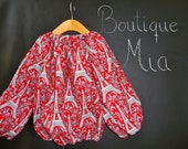 Peasant TOP - Michael Miller - Paris Eiffel Tower - Pick the size Newborn up to 12 Years by Boutique Mia