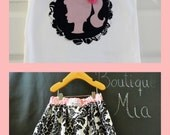 OUTFIT - Extra full Skirt  and matching Tee - Michael Miller - Delovely Damask - Pick the size Newborn up to 12 Years by Boutique Mia