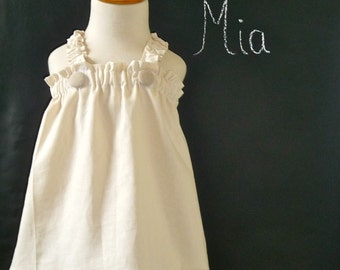 Truffle Ruffle Halter Dress - Linen and Cotton - Pick the size Newborn up to 12 Years by Boutique Mia