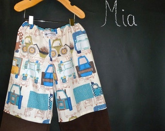 BOYS - Samurai PANTS - Alexander Henry - Trucks and Cars - 2 Years of Fashion - Pick the size Newborn to 8 Years by Boutique Mia