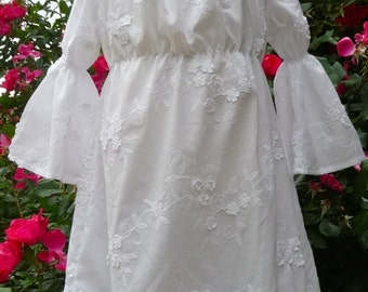 LIMITED - White Embroidered Dress with the 'EXTRA TOUCH' - Pick the size Newborn up to 12 Years - by Boutique Mia