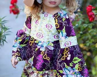 CHILDREN -Extra Full Peasant DRESS - Art Gallery -  Pick the size Newborn up to 12 Years - by Boutique Mia