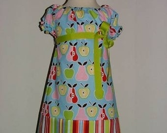A-line DRESS - Alexander Henry - Apple N' Pears - Pick the size Newborn up to 12 Years - by Boutique Mia