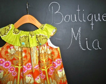 Ruffle Pillowcase DRESS - Amy Butler - 2 Years of Fashion - Pick the size Newborn up to 12 Years - by Boutique Mia