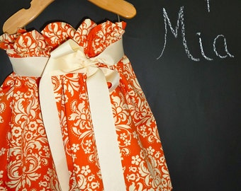 Paper Bag SKIRT and SASH - Orange Damask - Pick the size Newborn up to 12 Years by Boutique Mia