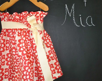 Paper Bag SKIRT and SASH - Amy Butler - Wallflower  - Pick the size Newborn up to 12 Years by Boutique Mia
