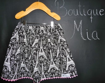BUY 2 get 1 FREE - Skirt - Michael Miller - Eiffel Tower - Pick the size Newborn up to 14 Years by Boutique Mia