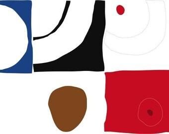 SALE primary - 1 Modern Art Print on velvet Fine Art Paper 8.5 x 11