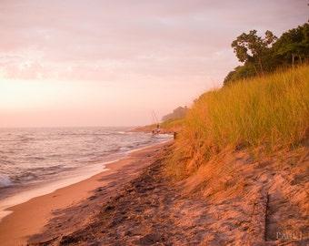 Lake Michigan beach sunset 16 x 24 on canvas
