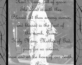 Black and White Hail Mary Swirled Prayer Art Print  (Size 5x7)