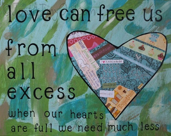 Love Can Free Us From All Excess Original 16x20 Mixed Media Painting