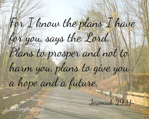 Scripture Printable - For I Know the Plans I Have for You (Jeremiah 29:11) - 8x10 INSTANT DOWNLOAD Art Photography Print