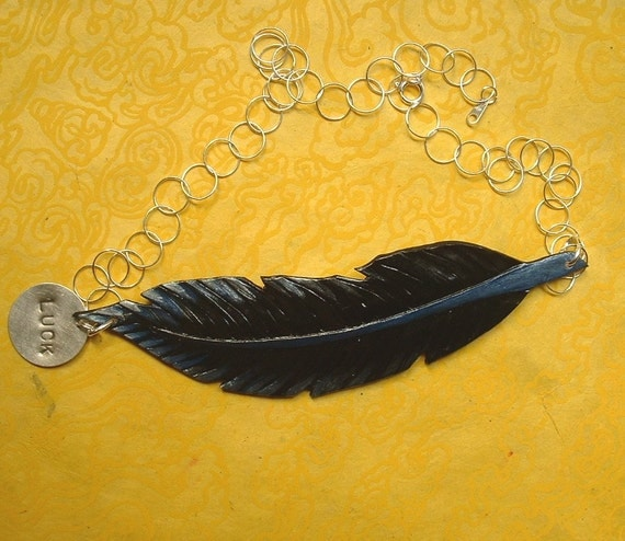 Good Luck Raven Feather Necklace