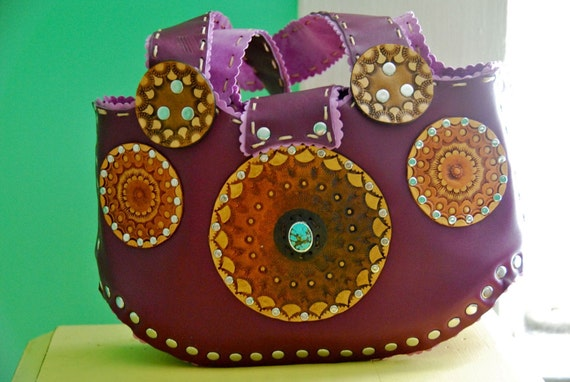 Hand Tooled Leather Happy Family Mandala Trinity Small Purse in Purple Earth and Turquoise