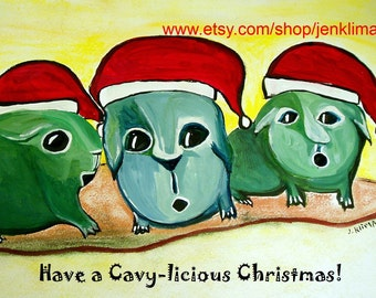 """GUINEA PIG Santa Claus Christmas Painting Reproduction - Have A Cavy-licious Christmas - 8x10"""" Limited Edition Print"""