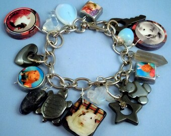 GUINEA PIG Photo Charm Bracelet - 17 Charms - OOAK - Moonstone - Hematite - Polymer Clay - Silver - Quartz - Sodalite - Original Photography