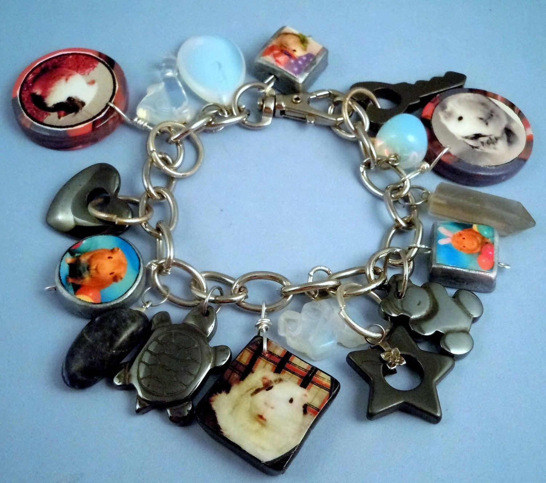 guinea pig photo charm bracelet 17 charms ooak moonstone