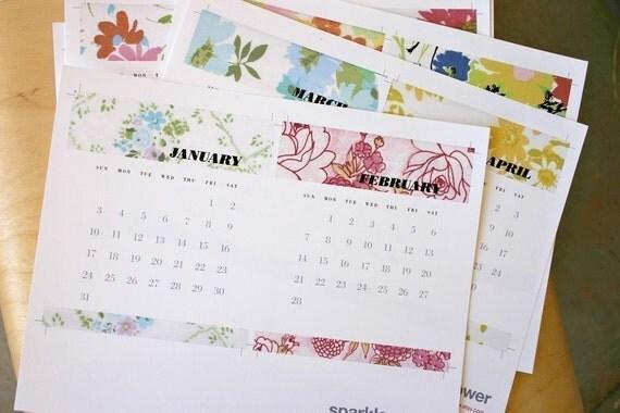 SALE Printable 2010 Fabric Stash Calendar