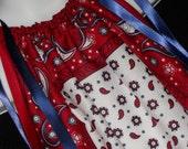 American Paisley Patriotic 4th of July  Bandana Pillowcase Dress  LAST ONE