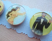 Set of 4 Magnets--Loteria- The Lady, The Devil, The Mermaid, The Dandy