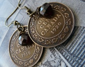 Canadiana Earrings with Antique Canadian Pennies and Garnet Briolettes