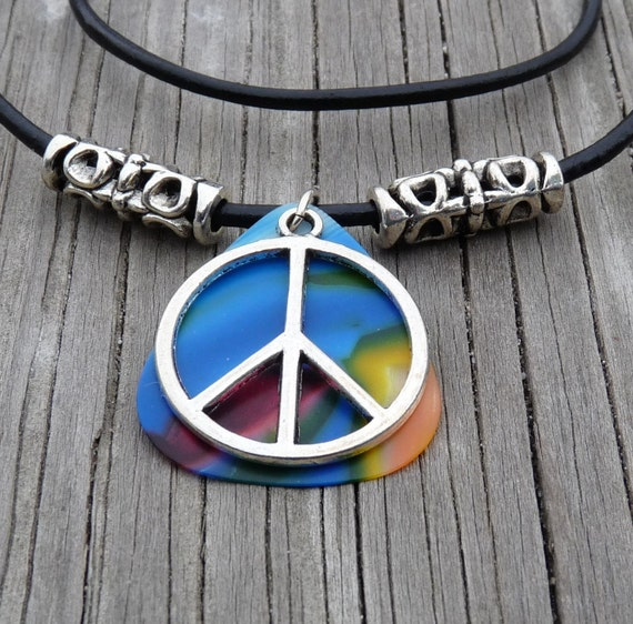 Colorfull Guitar Pick, Peace Sign, Leather Necklace