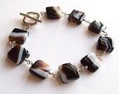 Black / White Banded Agate (Onyx) Bracelet in Silver, Striped Agate Bracelet, Agate Jewelry