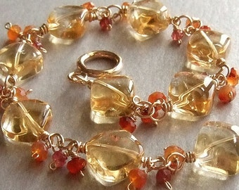 Sunny Citrine Bracelet in Gold with Carnelian and Spinel, Elegant Gemstone Bracelet, Gold Beaded Jewelry