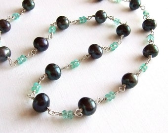 Peacock Black Pearl Necklace in Silver with Turquoise Apatite, Pearl Gemstone Necklace