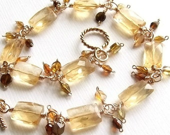 Citrine Bracelet in Gold with Green Tourmalines, Yellow Gemstone Bracelet