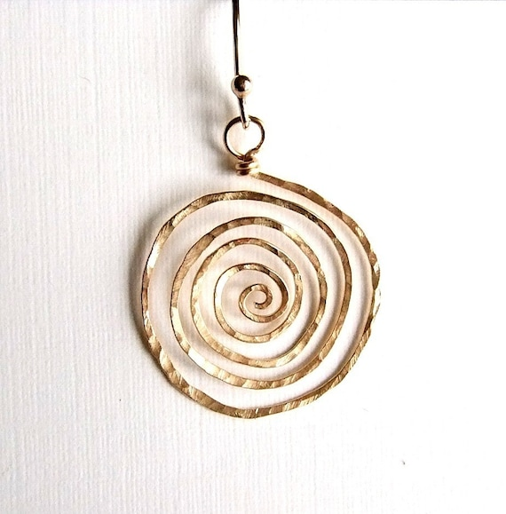Large Hammered Spiral Earrings in Gold, Gold Spiral Earrings, Hammered Gold Earrings
