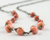 Wrapped Color Block Coral Necklace Oxidized Silver
